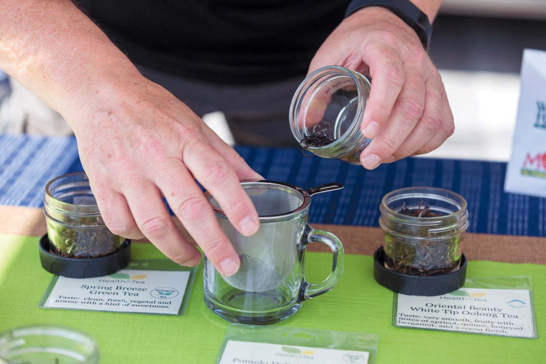 Alain Boczkowski demonstrates tea brewing technique at the Upper Merion Farmers' Market