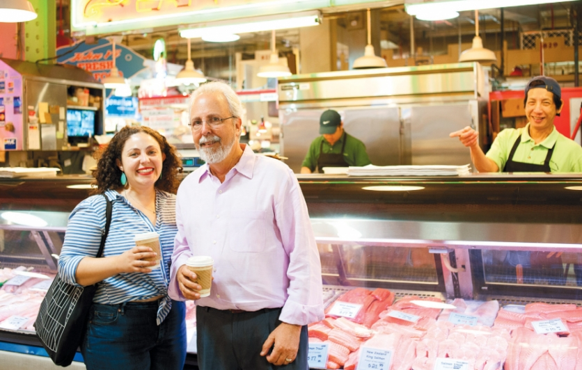 Devra and her dad at Johnny Yi's Fish Market