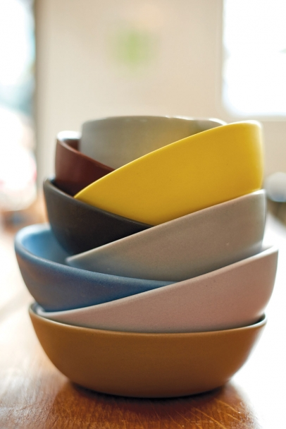 A pile of bowls made by local artisans, Felt and Fat
