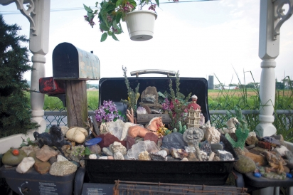 Collection of figurines and stones at Lizzie Sauder's