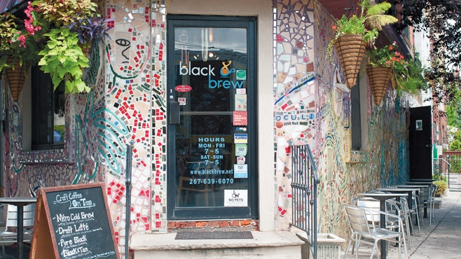 Black & Brew cafe's mosaic-clad entrance