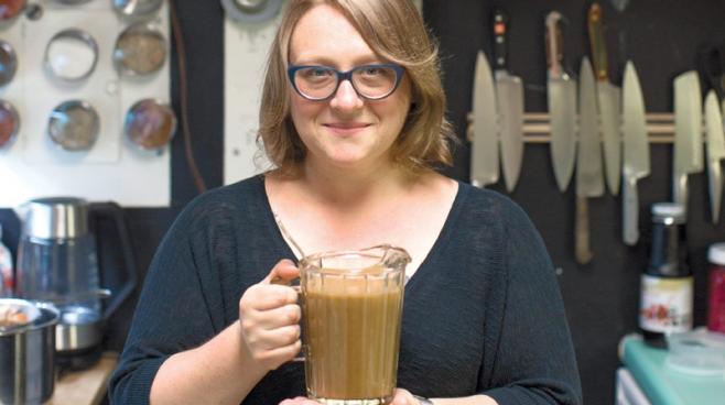 Marisa McClellan with her pitcher of turkey gravy