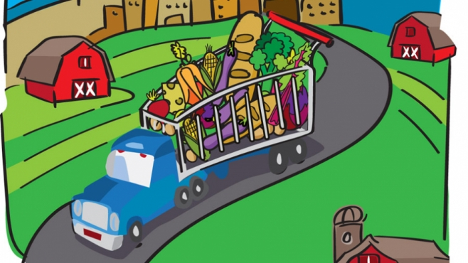 Groceries in a truck