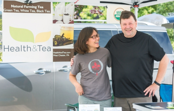 Liz Wang and Alain Boczkowski, co-owners of Health and Tea, at the Upper Merion Farmers' Market